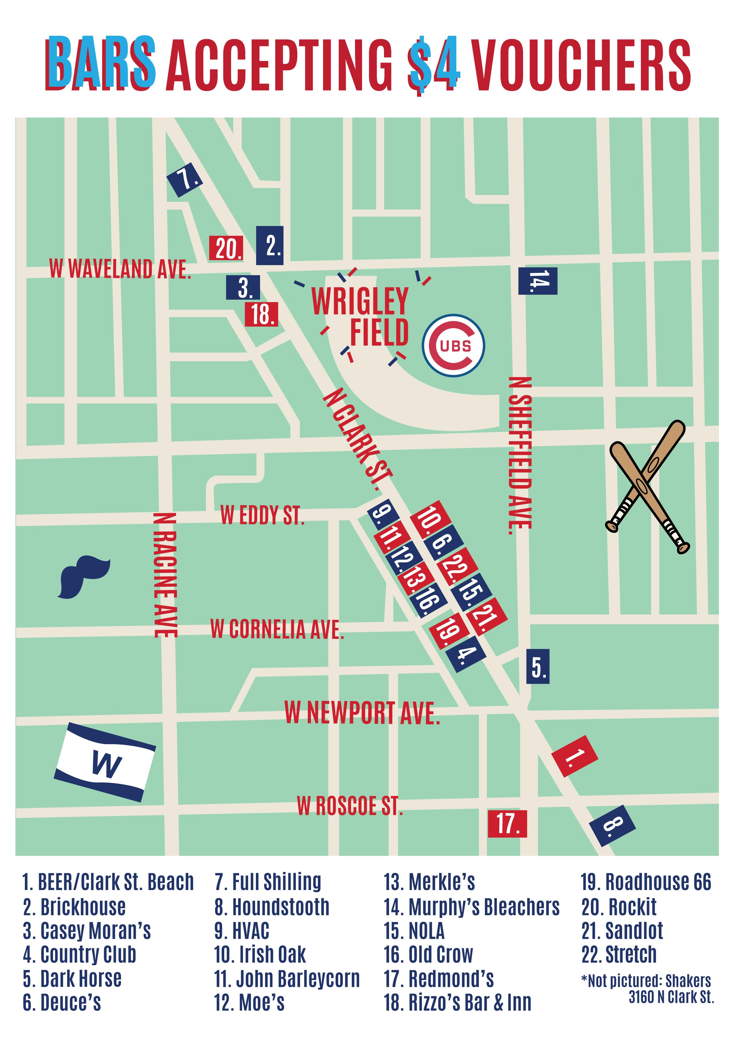 Mustache Crawl Bar Map - Bars Accepting $4 Vouchers