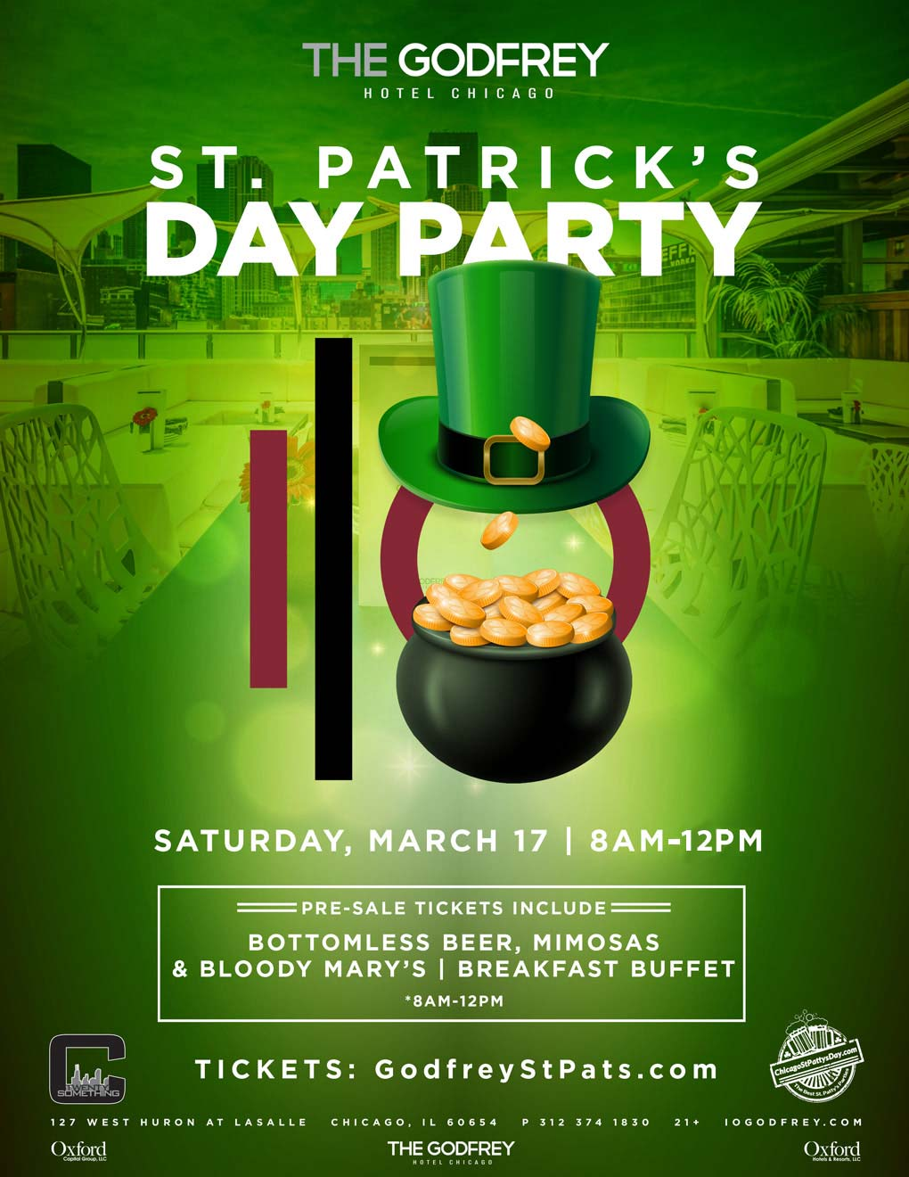 IO Godfrey Hotel St. Patrick's Day Party - Celebrate St. Patrick's Day at one of the hottest spots in Chicago!  Tickets include bottomless beer, mimosas and Bloody Mary's as well as a breakfast buffet!