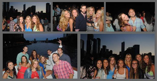 Collage featuring pictures from Chicago Booze Cruise Party