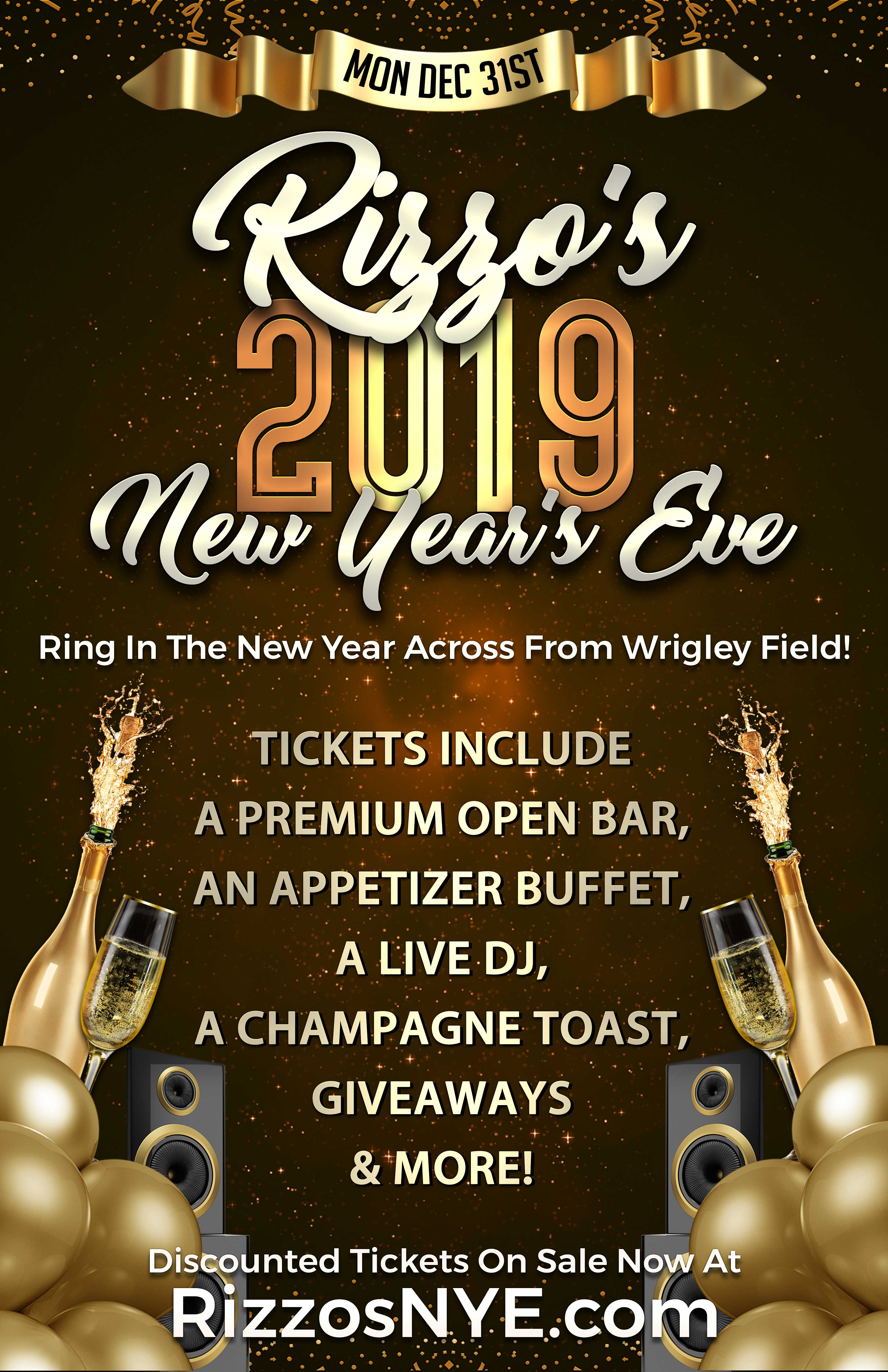Rizzo's Bar & Inn New Year's Eve Party - Tickets Include A Premium Open Bar, An Appetizer Buffet, A Live DJ,  A Champagne Toast at Midnight, Giveaways & More!