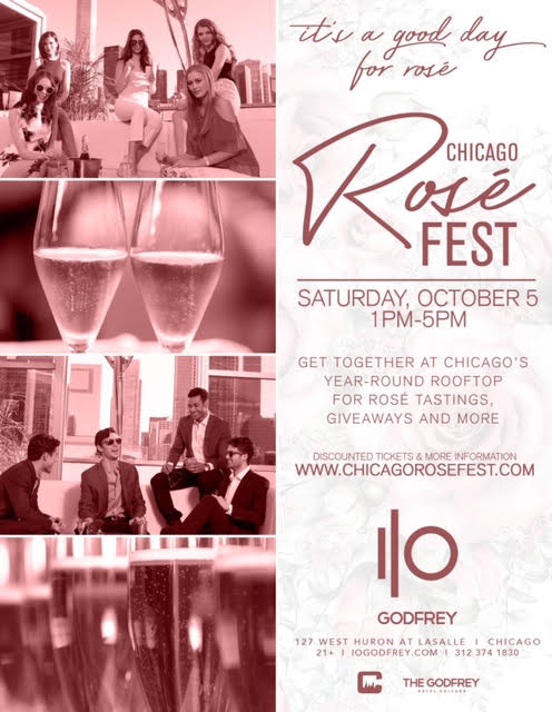 Chicago Rosé Fest at I|O Godfrey Rooftop - Tickets Include Four Hours of Rosé Tastings, Giveaways & More! There will be over a dozen different Rosé varieties to try!