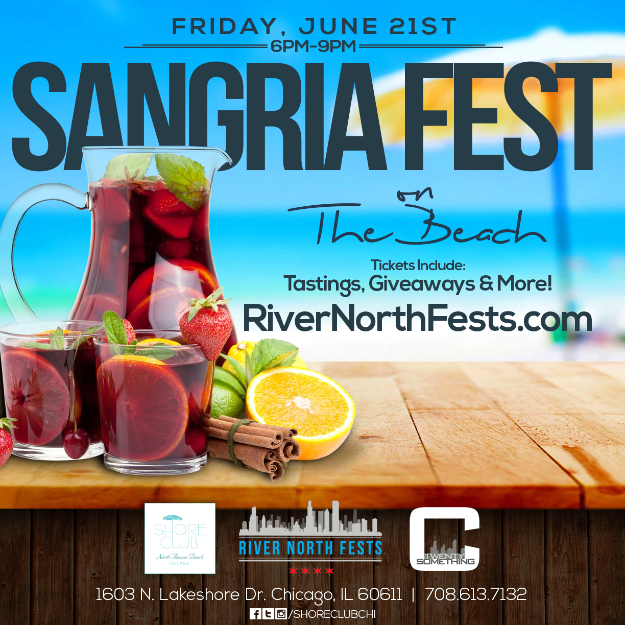 Sangria Fest on the Beach Tasting Party - Tickets include sangria tastings, giveaways & MORE! We will have a variety of different sangrias available for sampling!