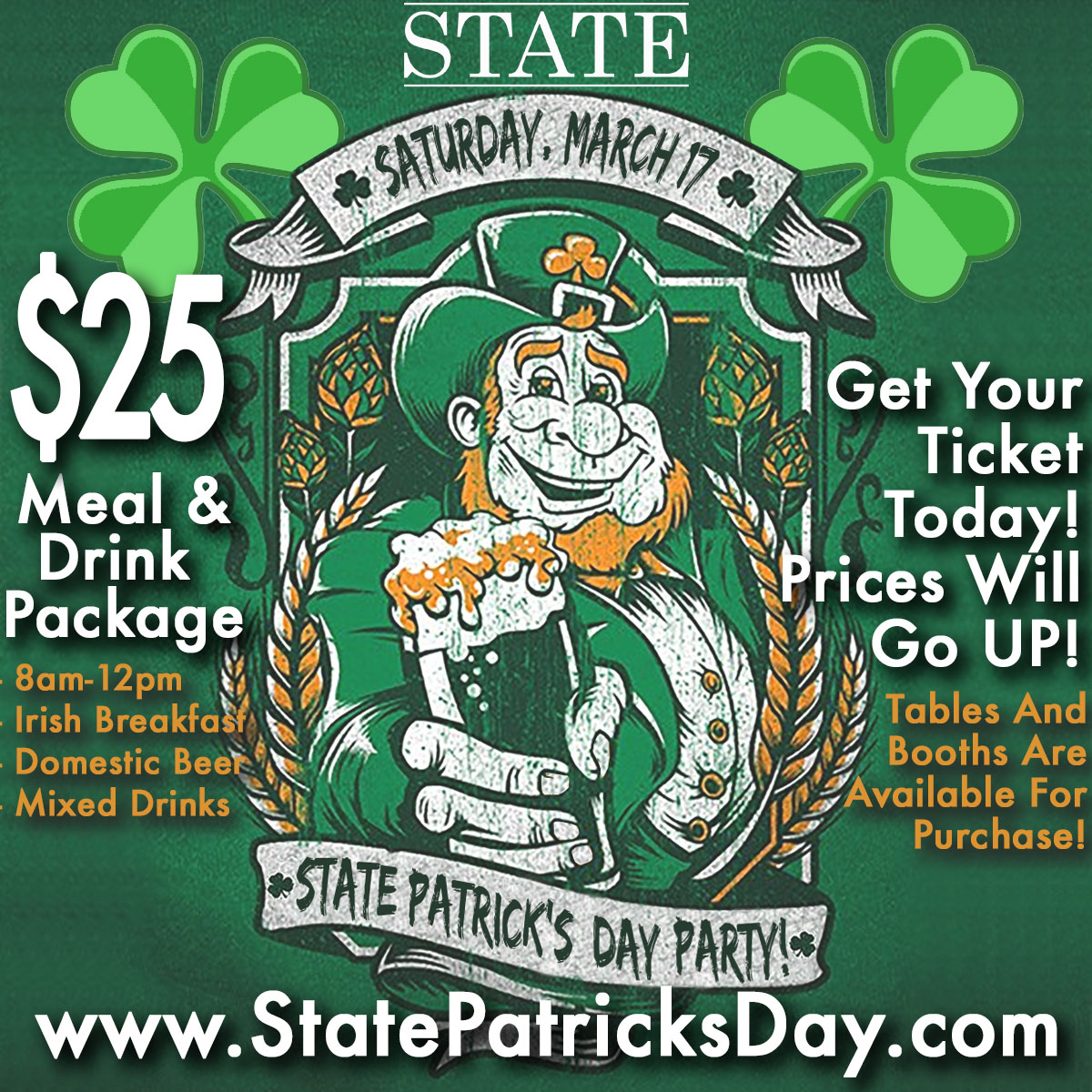 Join us for St. Patrick's Day at State, the best bar in Lincoln Park!  St. Patrick's Day package will include wells, and Miller Lite/Coors Light draughts. A sandwich option will also be included for those who buy the package.