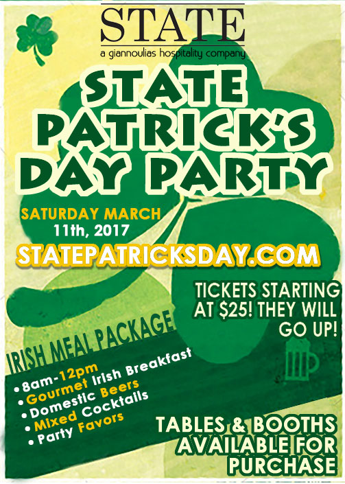 State Restaurant St. Patrick's Day Party - Irish Meal package will include calls, wells, and Miller Lite/Coors Light draughts. Guests will also be able to select a food item.