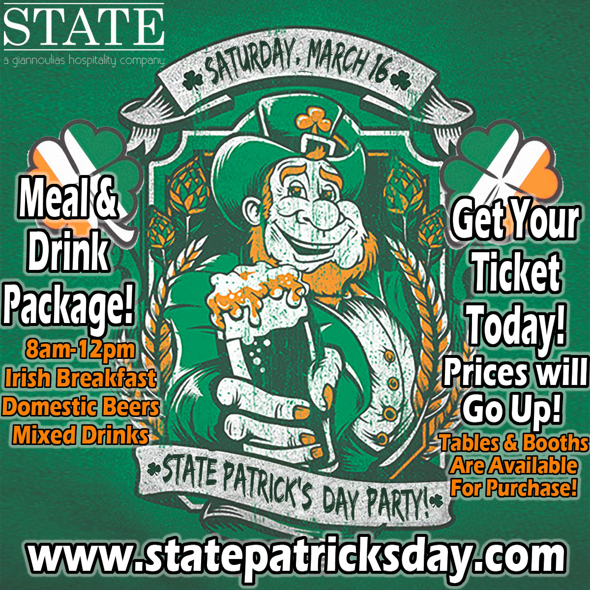 State Patrick's Day Party - Meal and Drink package will include an Irish Breakfast, Domestic Beers and Mixed Drinks!