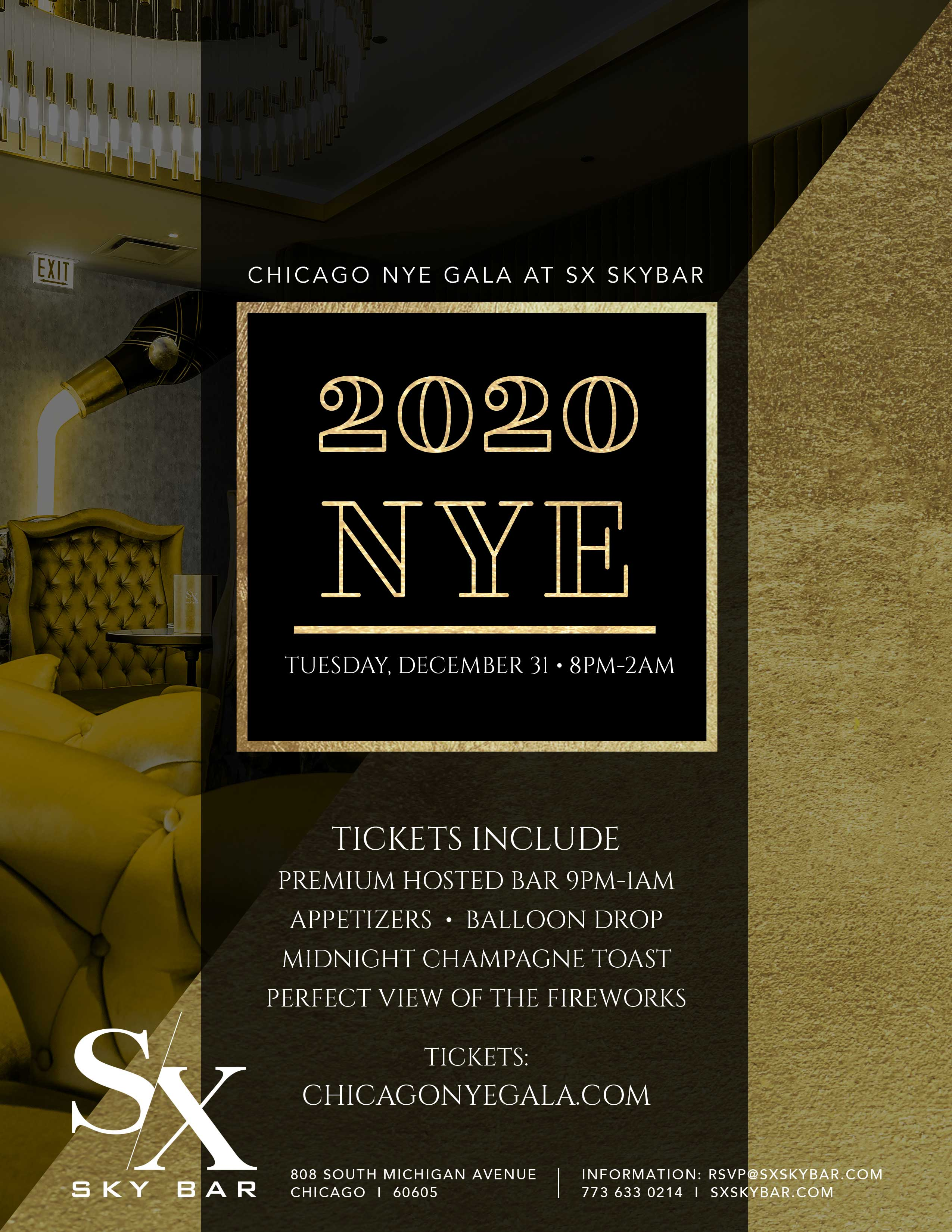 SX New Year's Eve Gala Party - Tickets include a premium hosted bar from 9pm-1am, appetizers, balloon drop, midnight champagne toast, and a perfect view of the fireworks!