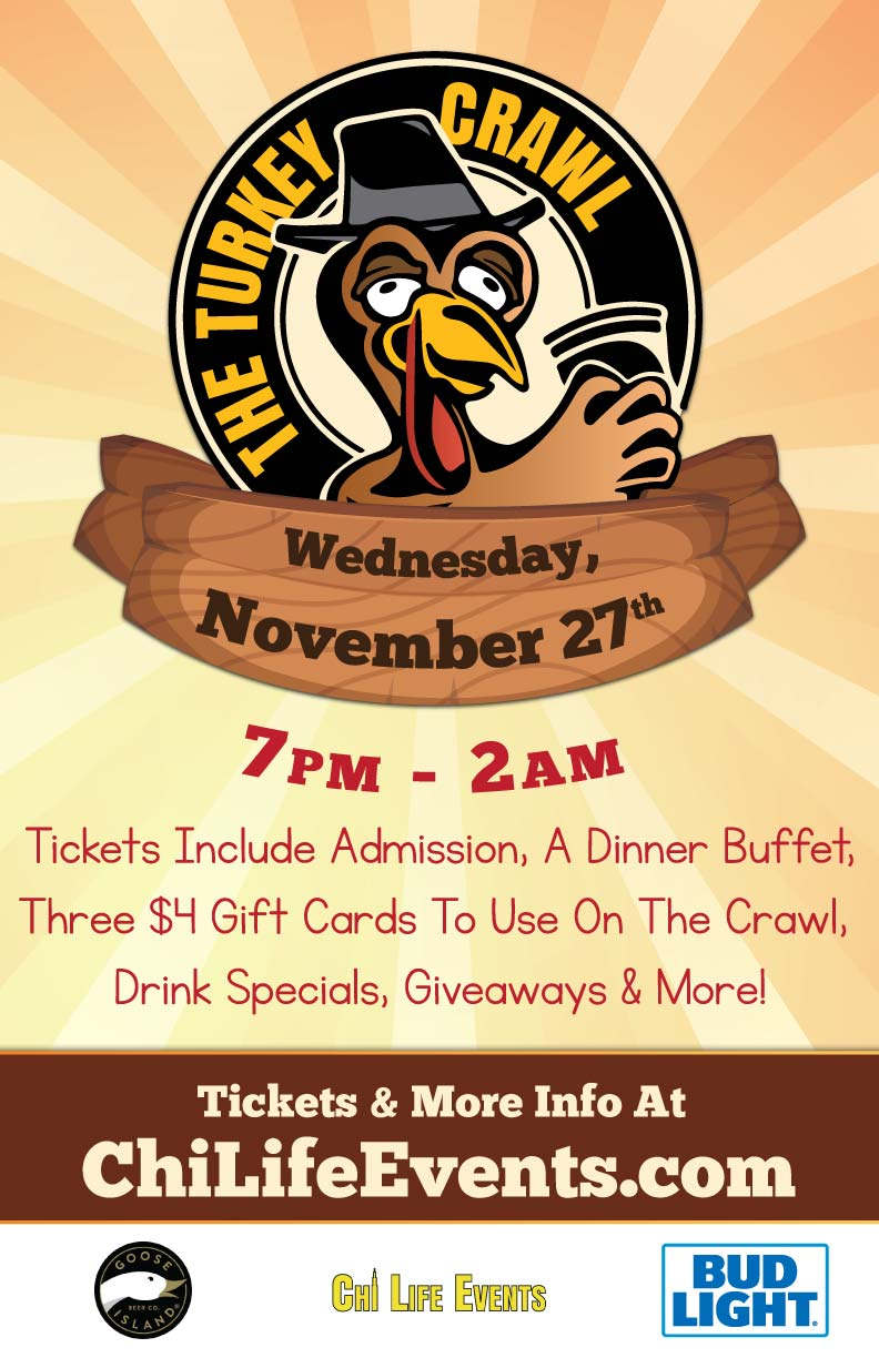 The Turkey Crawl - Black Wednesday Bar Crawl Party - Tickets Include Admission to all participating venues, a Dinner Buffet, three $4 Gift Cards to use on the Crawl, Drink Specials, Giveaways & MORE!