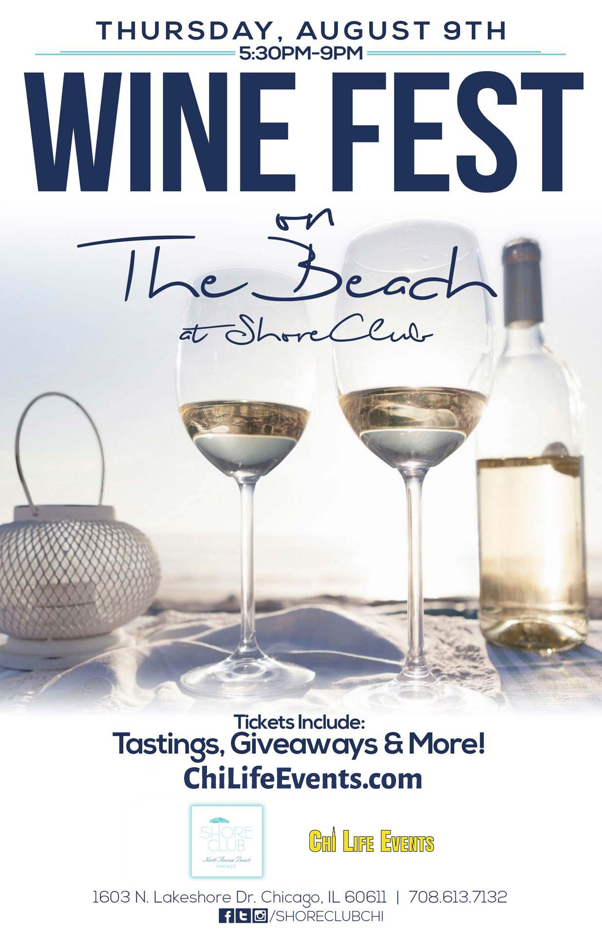 Wine Fest on the Beach Party at Shore Club Chicago - Tickets include wine tastings, giveaways & MORE!