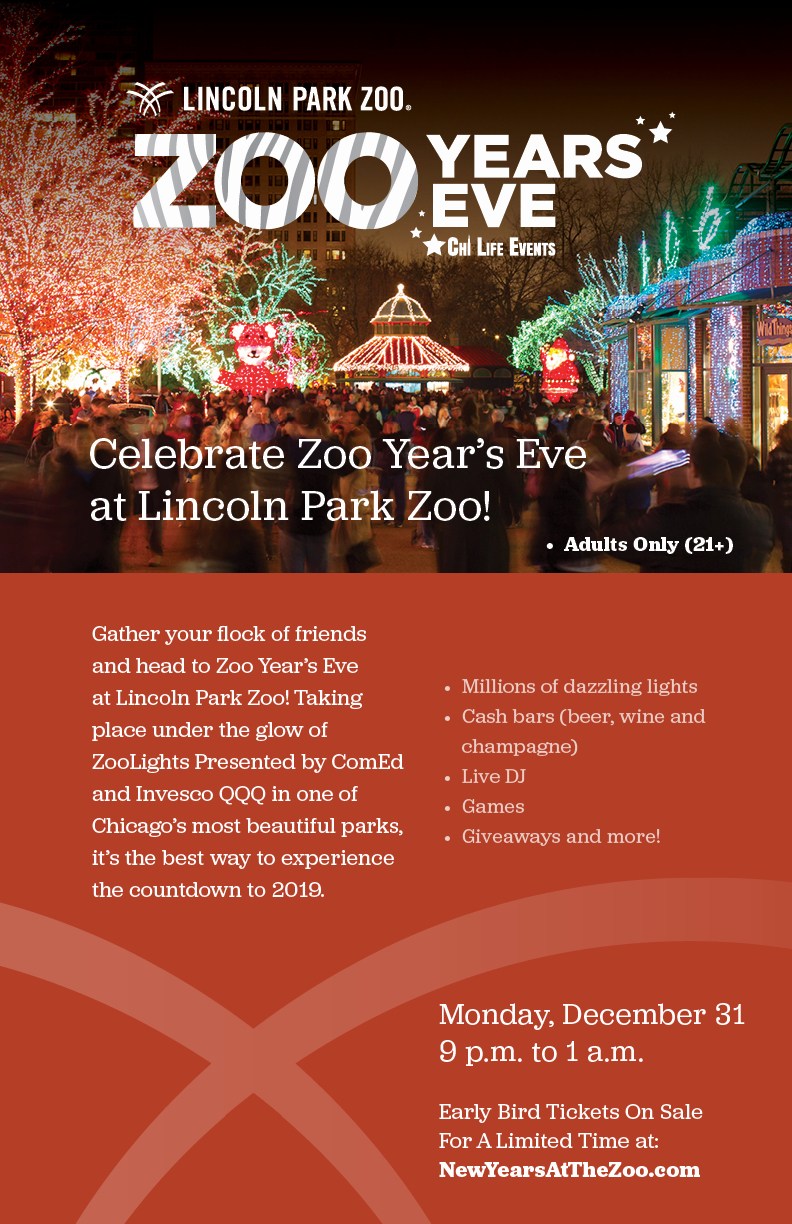 Zoo Year's Eve at Lincoln Park Zoo - Admission to Lincoln Park Zoo after-hours, live DJs, interactive games, giveaways & more! Plus, no kids!