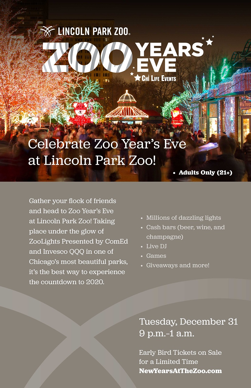 Zoo Year's Eve at Lincoln Park Zoo - Admission to Lincoln Park Zoo after-hours, a live DJ, interactive games, giveaways & more! Plus, no kids!