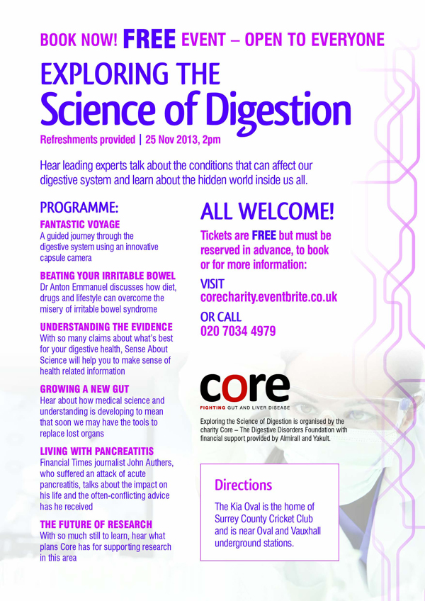 Core - Science of Digestion event - programme