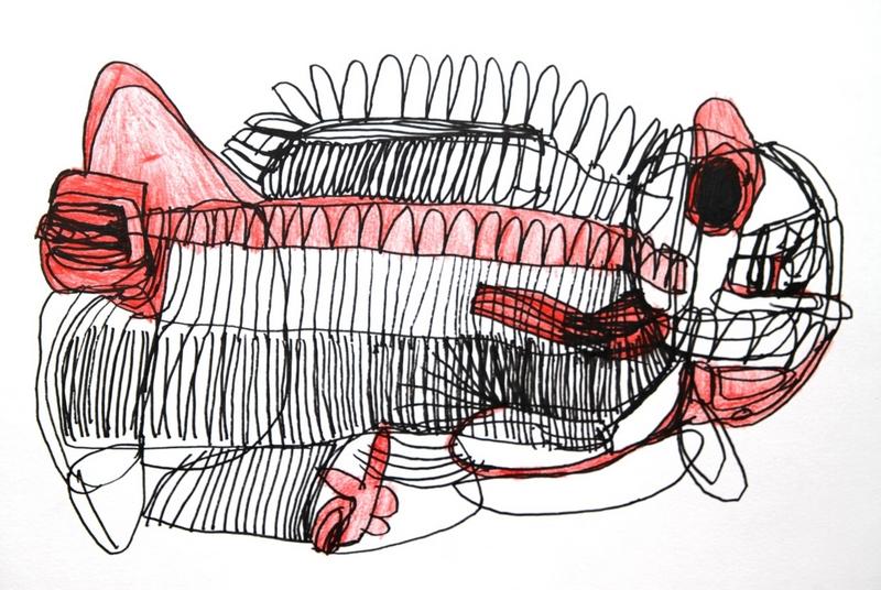 Joceline Lee, Fish, pen and chalk texta, Satellite