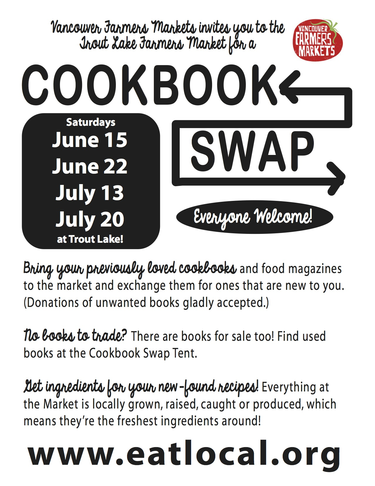 Exchange your old cookbooks for something new-to-you!