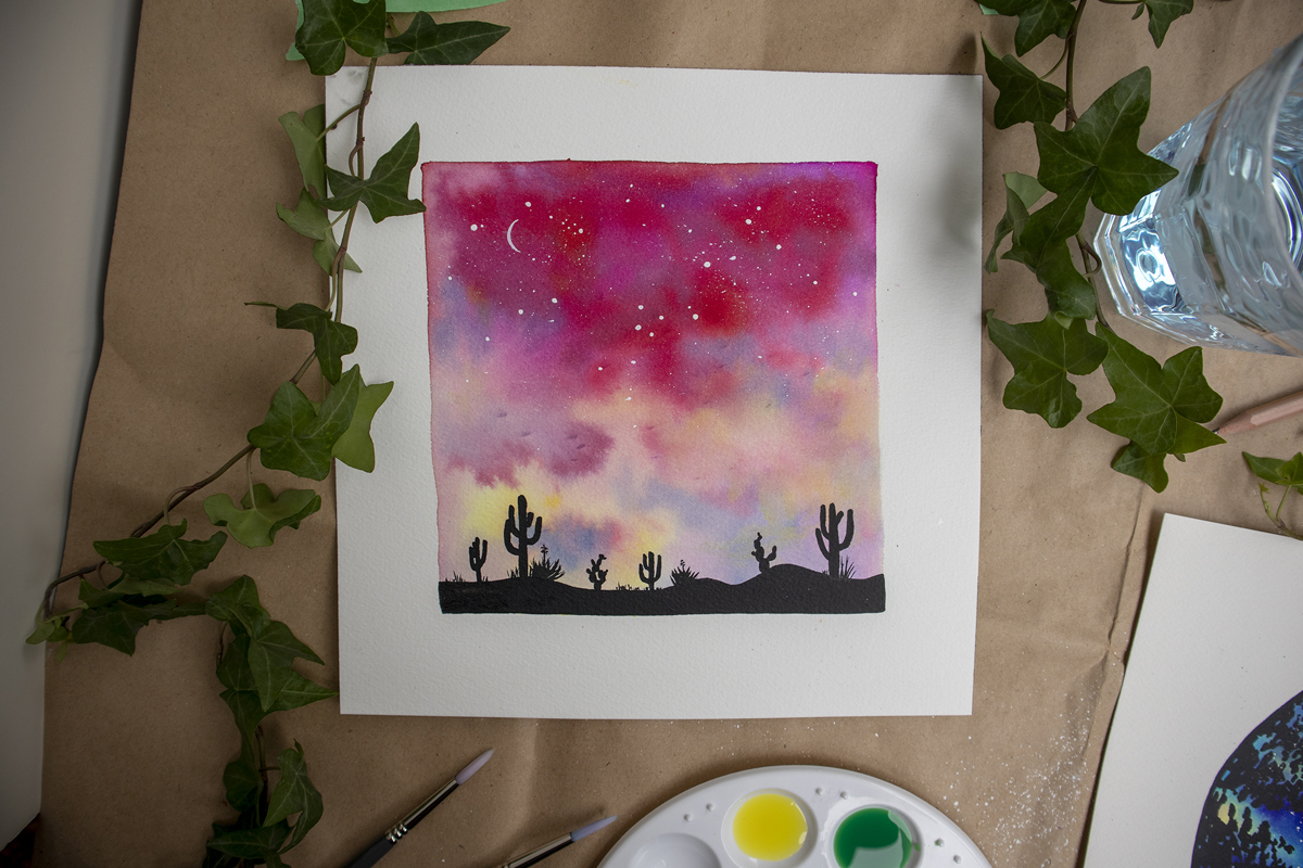 watercolour sunset desert