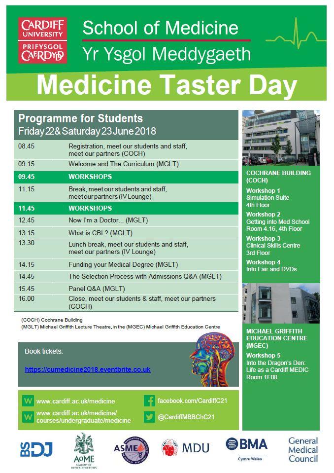 Medicine Taster Day 2018 Student programme