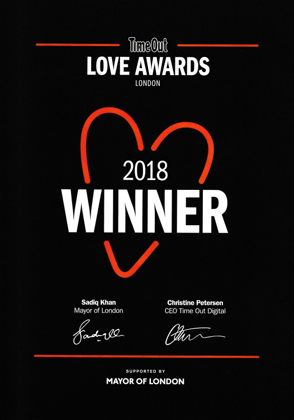 Time Out Love London Award Winner 2018