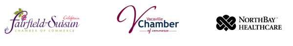 Logos from the three sponsoring partner: Fairfield & Suisun Chambers of Commerce, Vacaville Chambers of Commerce, and NorthBay Healthcare