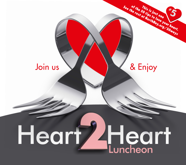 A pair of forks twisted around into the shape of a heart. The text 'Join us & Enjoy' wrap around them. The title 'Heart 2 Heart Luncheon' appears under the forks.
