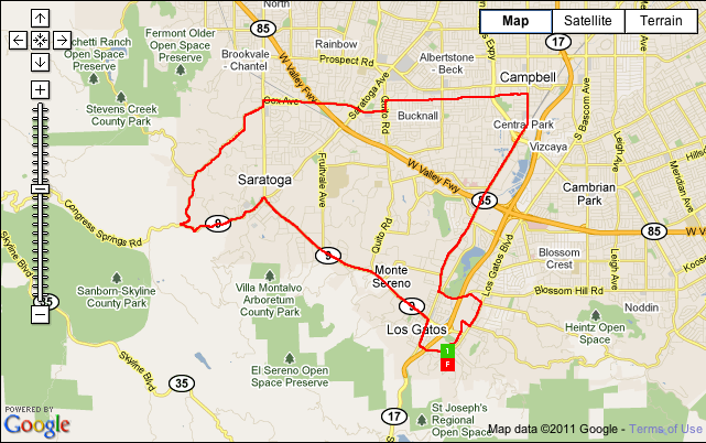 30K Ride/Run/Walk Course Map Jill's Ride for Hope 2011