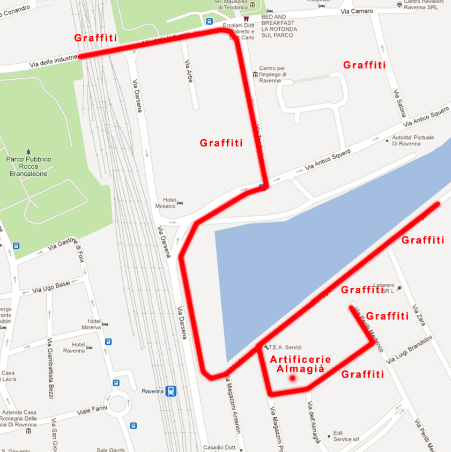 Mappa StreetArt Darsena Ravenna