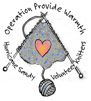 Logo by Terry Marks for Hurricane Sandy Volunteer Knitters