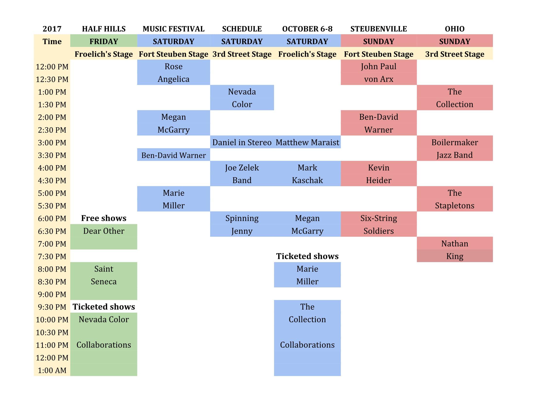 Half Hills Music Schedule