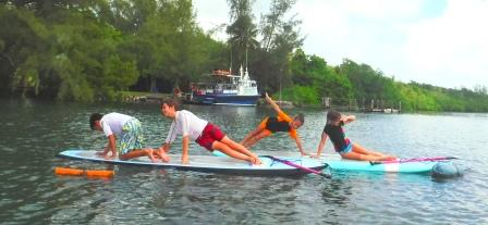 kids sup yoga at virginia key