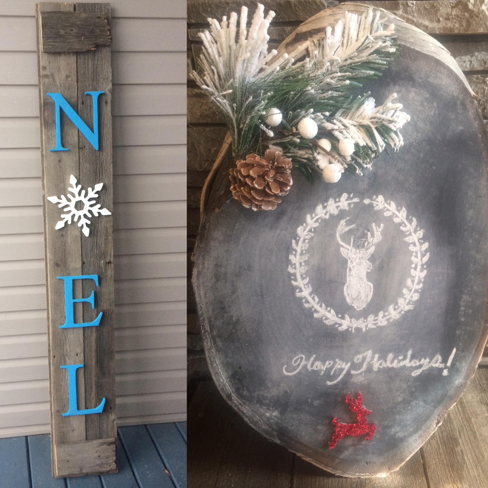 Noel Sign and Holiday Chalkboard