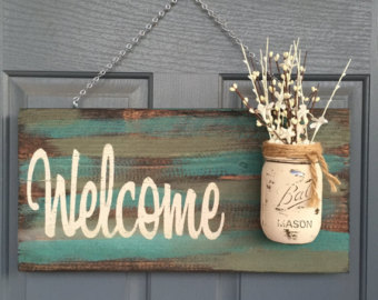Diy wood box centrepiece and welcome sign tickets fri 24 for Diy welcome home decorations