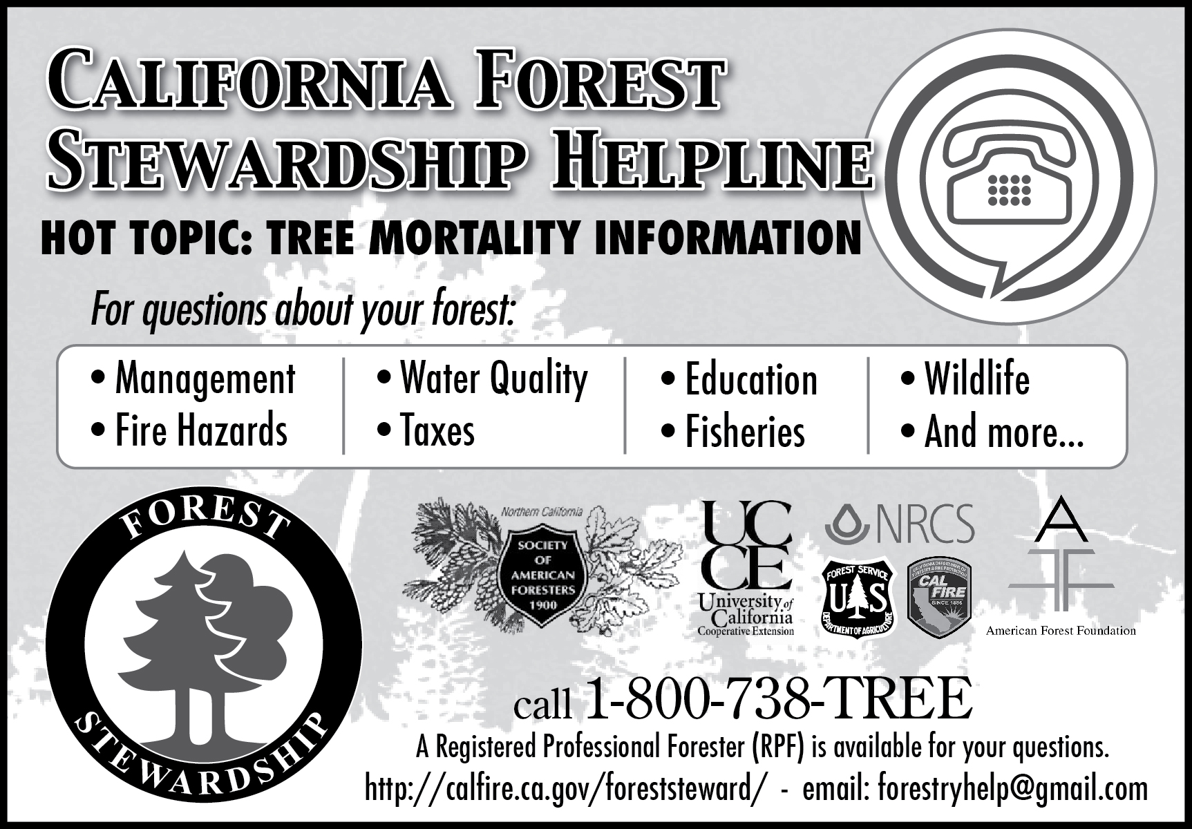 Forest Stewardship Helpline Ad