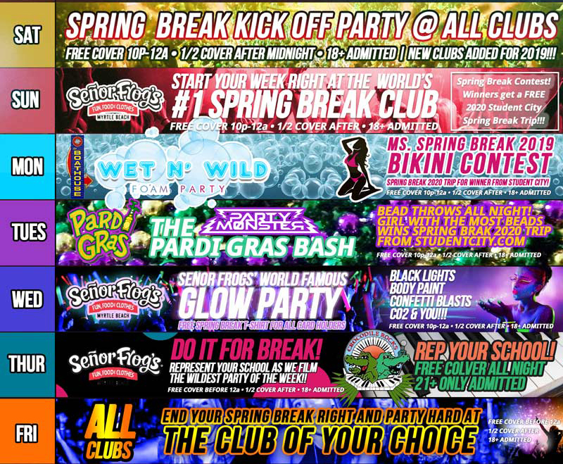 Myrtle Beach Spring Break 2019 Party Program | MyrtleManiac