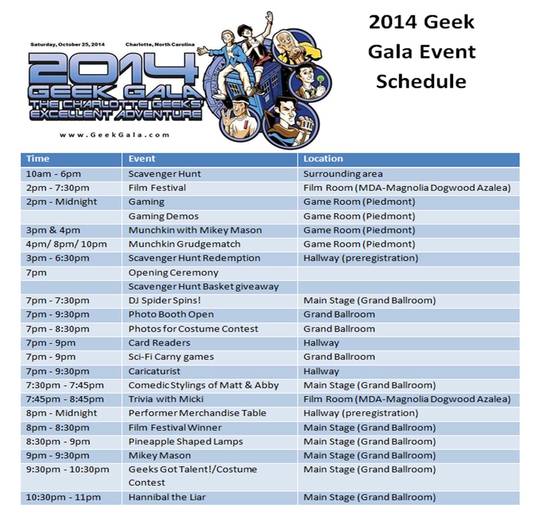 2014 Geek Gala Schedule