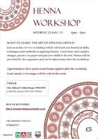 HENNA WORKSHOP- SATURDAY 25 MAY 2013