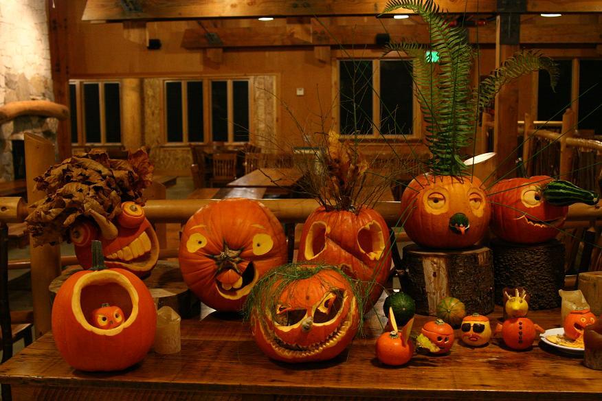 line of crazy looking pumpkins