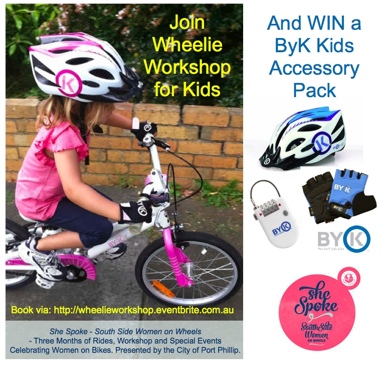 Win a Byk Bikes prize pack (helmet, gloves, bike lock) as giveaway door prize for one lucky child