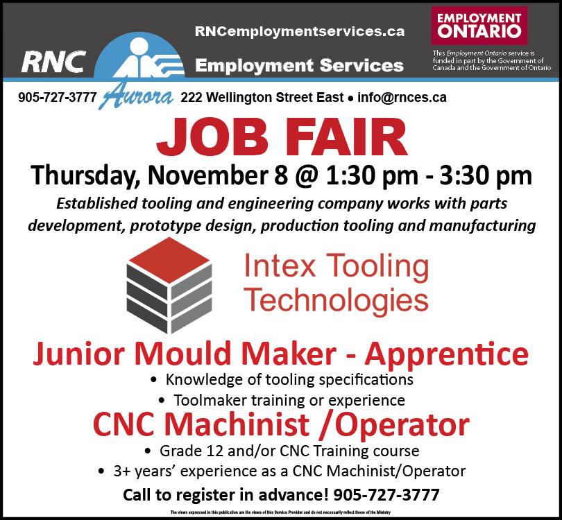 JOB FAIR: CNC Machinist and Junior / Apprentice Mould Maker