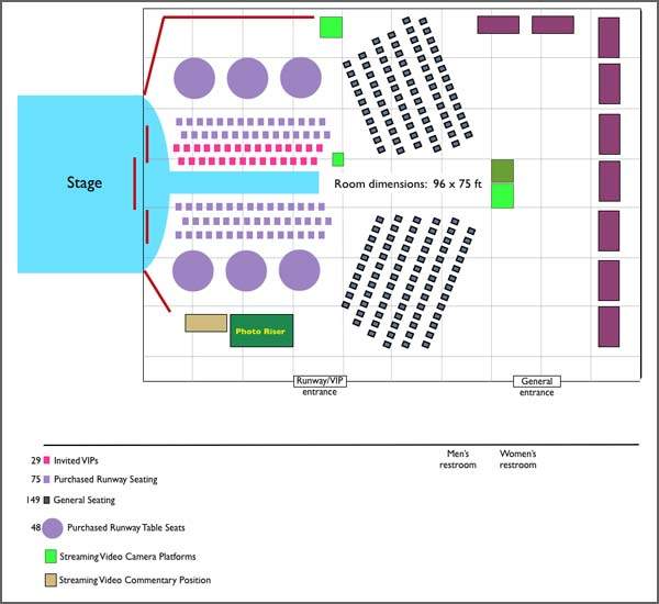 Room layout for Mature Magic Fashion Show