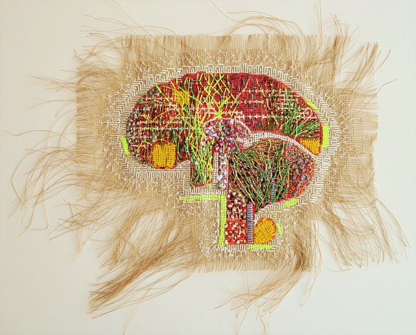 Hand stitched image of brain, with the edges of the canvas frayed