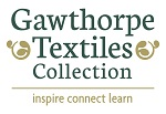 Gawthorpe Textiles Collection logo, shows two curly leaf patterns either side of the words Gawthorpe Textiles Collection. Underneath are the words 'inspire connect learn'