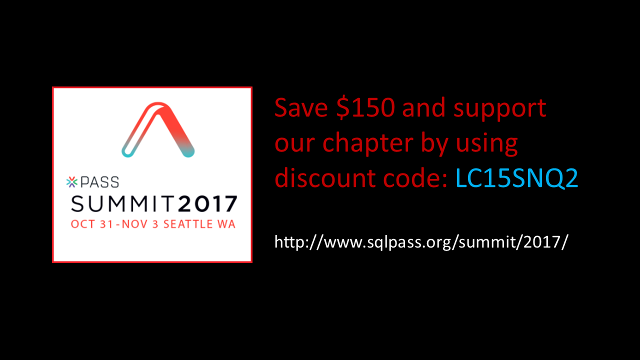 PASS Summit 2017 discount