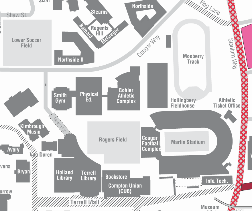 map of the WSU campus and rogers field