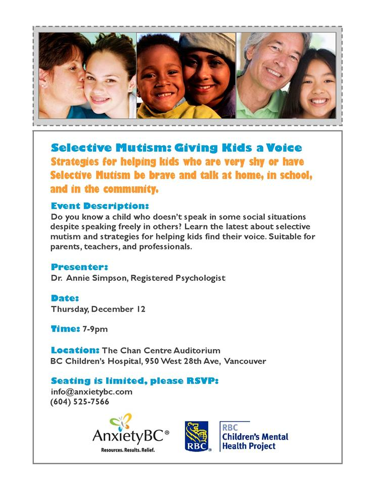 Poster for Selective Mutism Event