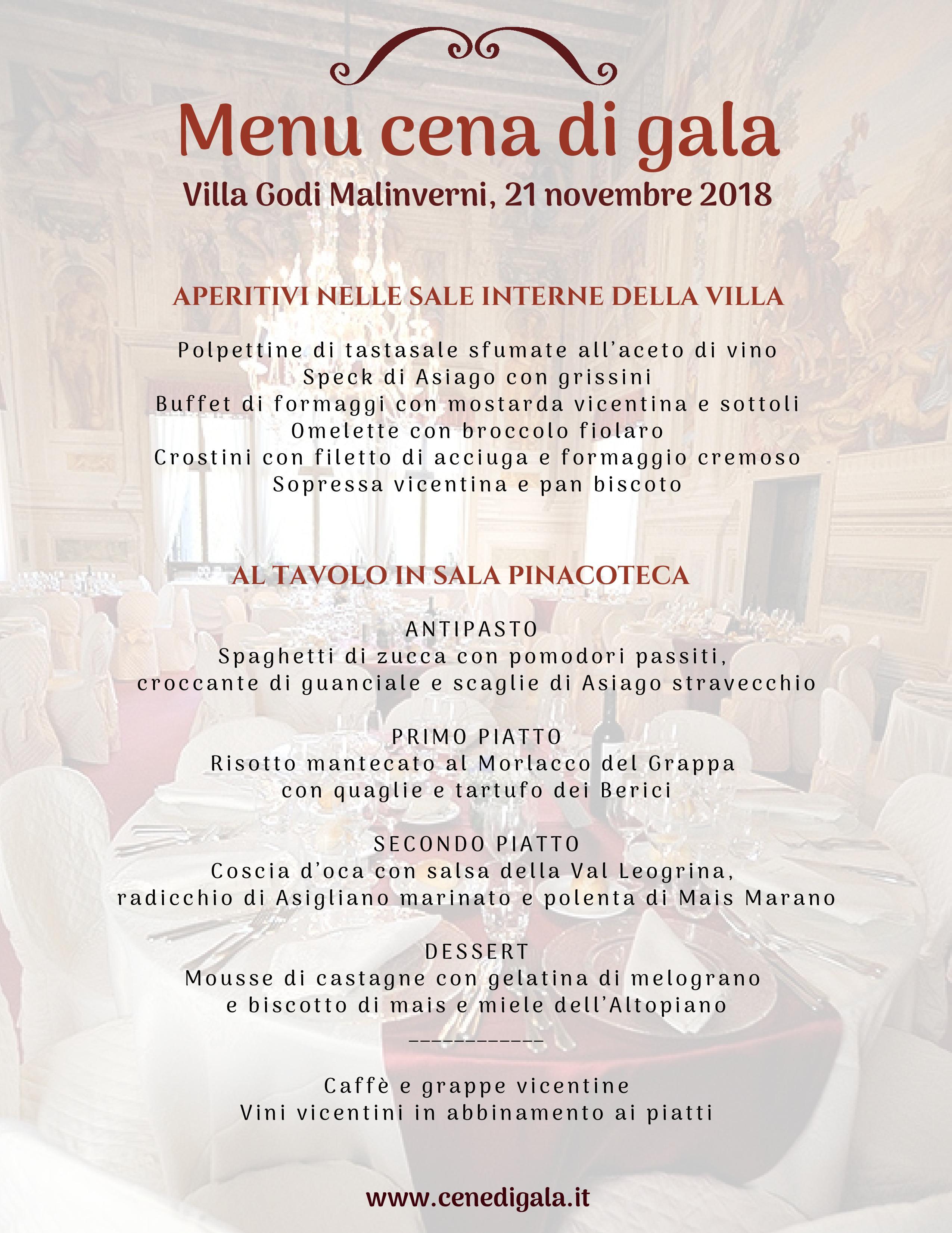 Menu cena di gala Villa Godi Malinverni 21.11.2018