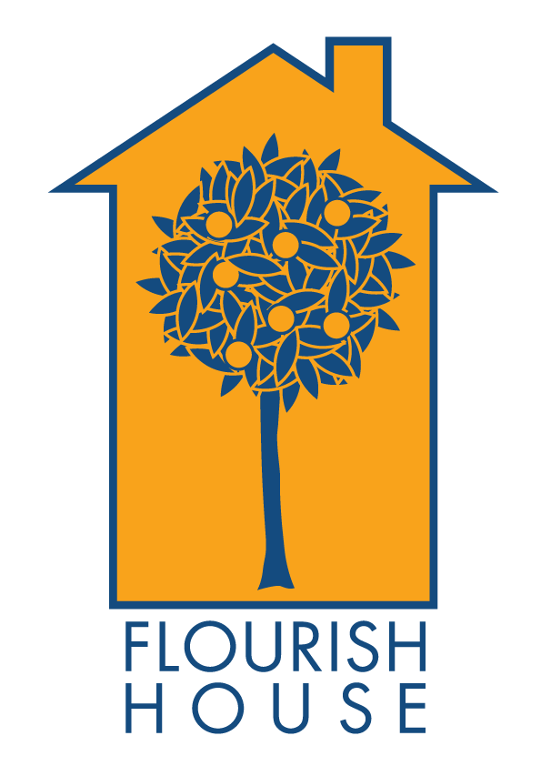 Flourish House Logo: a flourishing tree inside a house.