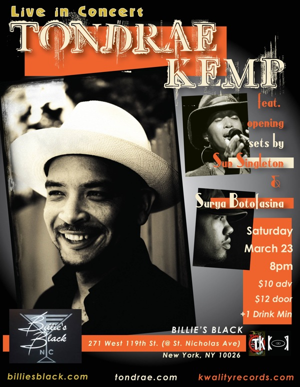 Sat 3/23 - Tondrae Kemp Live at Billie's Black
