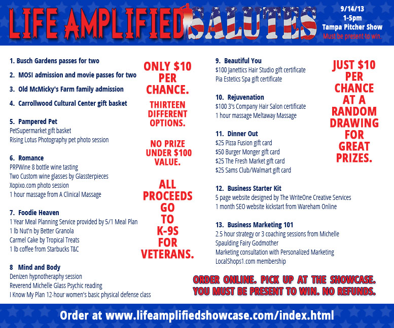 raffles prizes for Life Amplified SALUTES