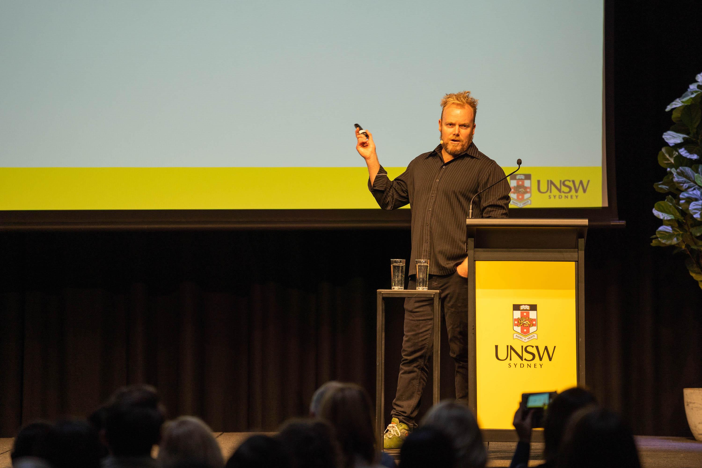 Dan Wilkinson speaking at UNSW Social Media Day