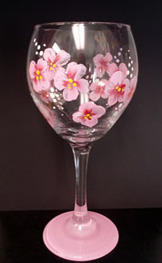Pink Flowers Wine Glass
