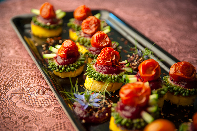 Plantain, karela, beet salsa. tomato and cucumber with toasted seeds