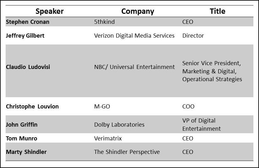 Speaker Panel SMPTE May 19, 2015